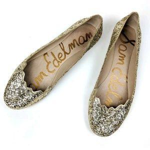 Sam Edelman Alaine Gold Glitter Scalloped Flats